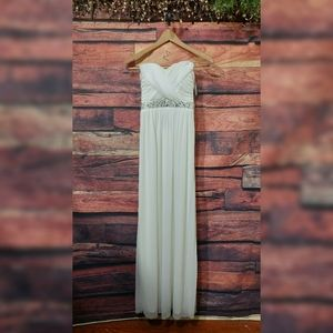 City Triangles Ivory Chiffon Strapless gown dress